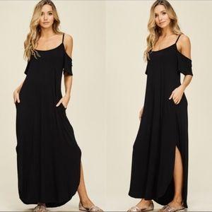 RILEY Cold Shoulder Maxi Dress - BLACK